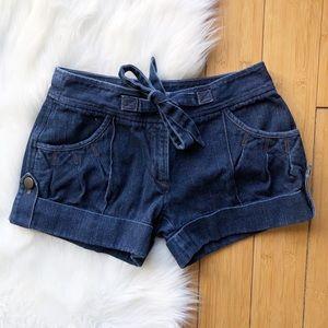 Diane Von Furstenberg Dark Wash Tie Denim Short